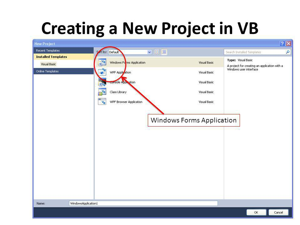 Creating a New Project in VB Windows Forms Application
