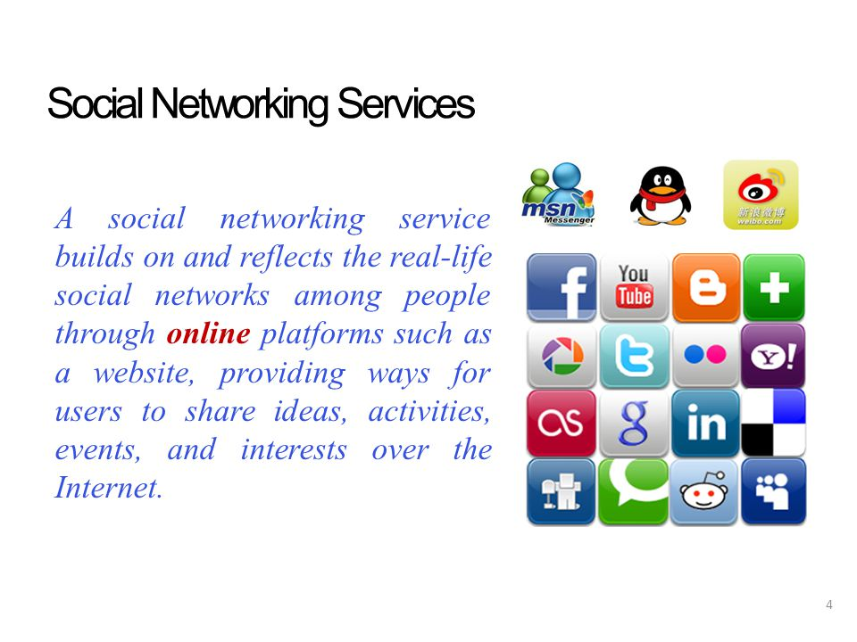 Social Networking Services A social networking service builds on and reflects the real-life social networks among people through online platforms such as a website, providing ways for users to share ideas, activities, events, and interests over the Internet.