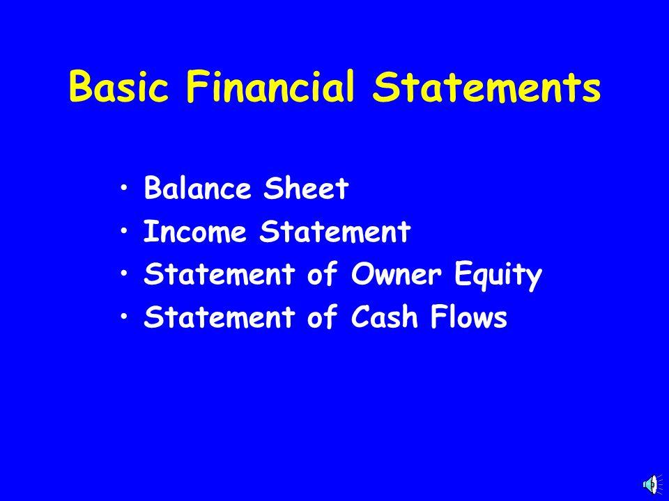 Basic Financial Statements Balance Sheet Income Statement Statement of Owner Equity Statement of Cash Flows