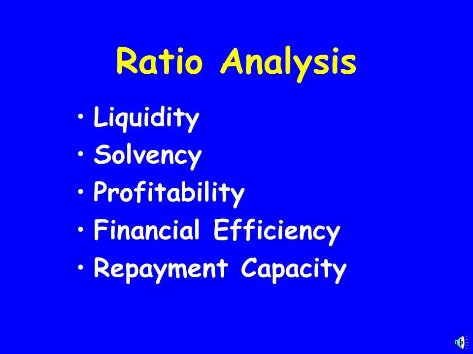Ratio Analysis Liquidity Solvency Profitability Financial Efficiency Repayment Capacity