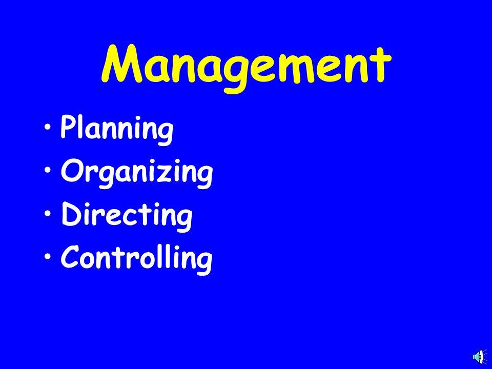 Management Planning Organizing Directing Controlling