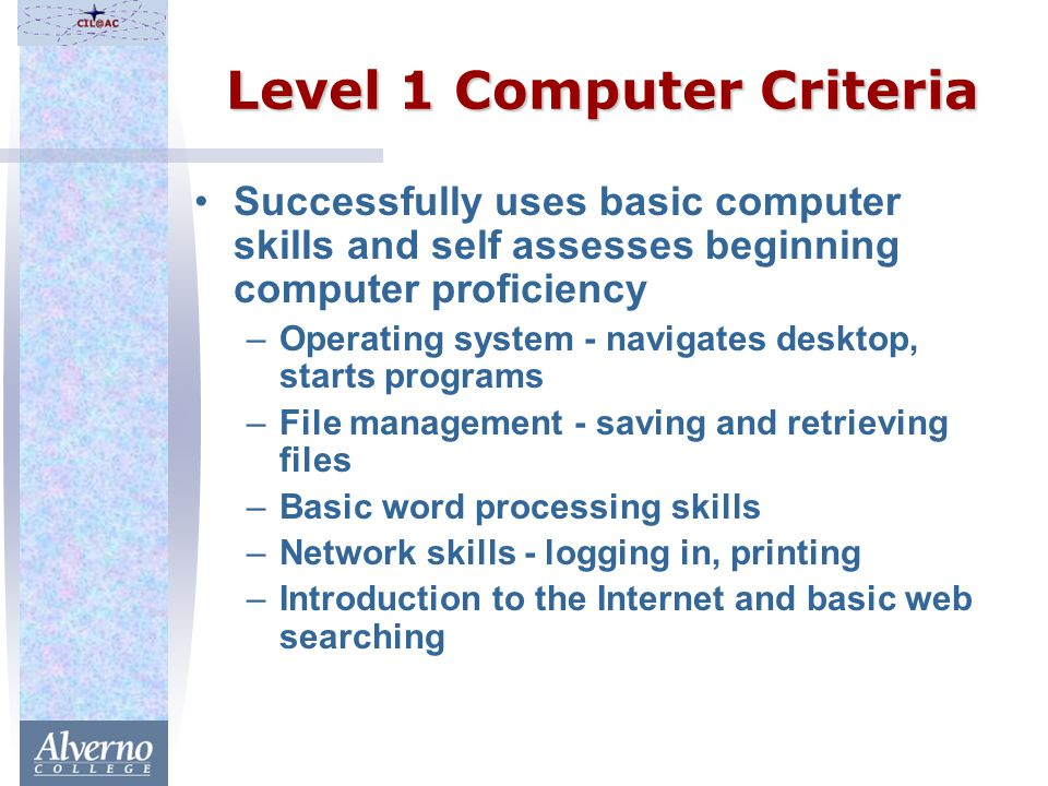 Level 1 Computer Criteria Successfully uses basic computer skills and self assesses beginning computer proficiency –Operating system - navigates desktop, starts programs –File management - saving and retrieving files –Basic word processing skills –Network skills - logging in, printing –Introduction to the Internet and basic web searching