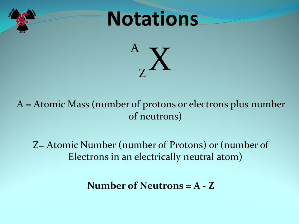 Notations A Z X A = Atomic Mass (number of protons or electrons plus number of neutrons) Z= Atomic Number (number of Protons) or (number of Electrons