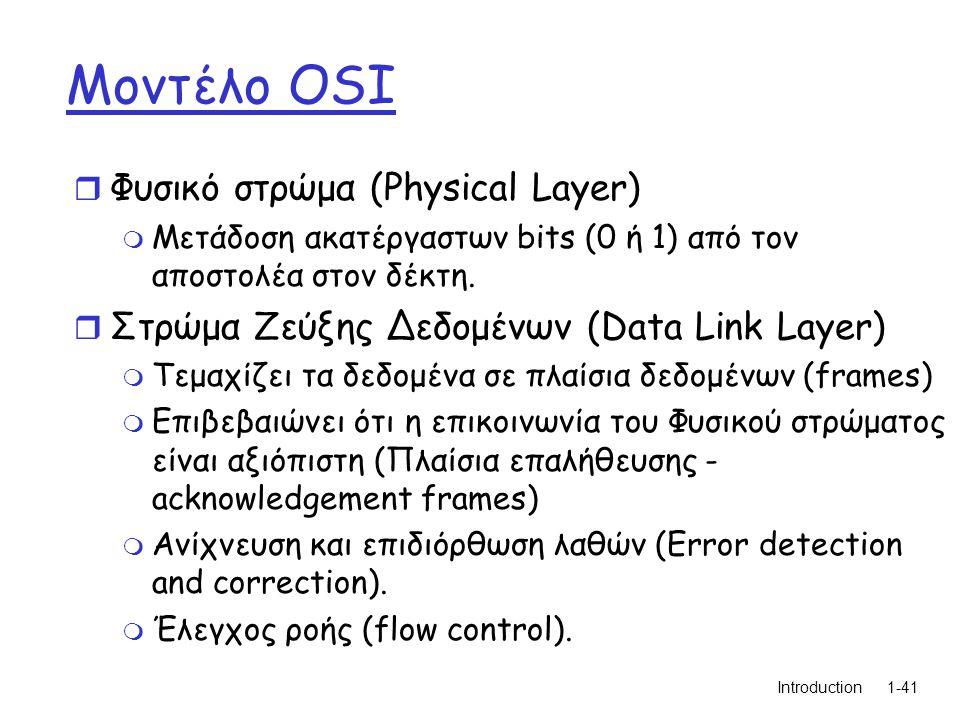 Introduction1-41 Μοντέλο OSI r Φυσικό στρώμα (Physical Layer) m Μετάδοση ακατέργαστων bits (0 ή 1) από τον αποστολέα στον δέκτη.