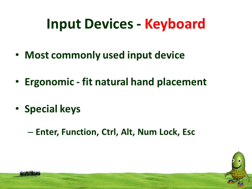 13 Input Devices - Keyboard Most commonly used input device Ergonomic - fit natural hand placement Special keys – Enter, Function, Ctrl, Alt, Num Lock