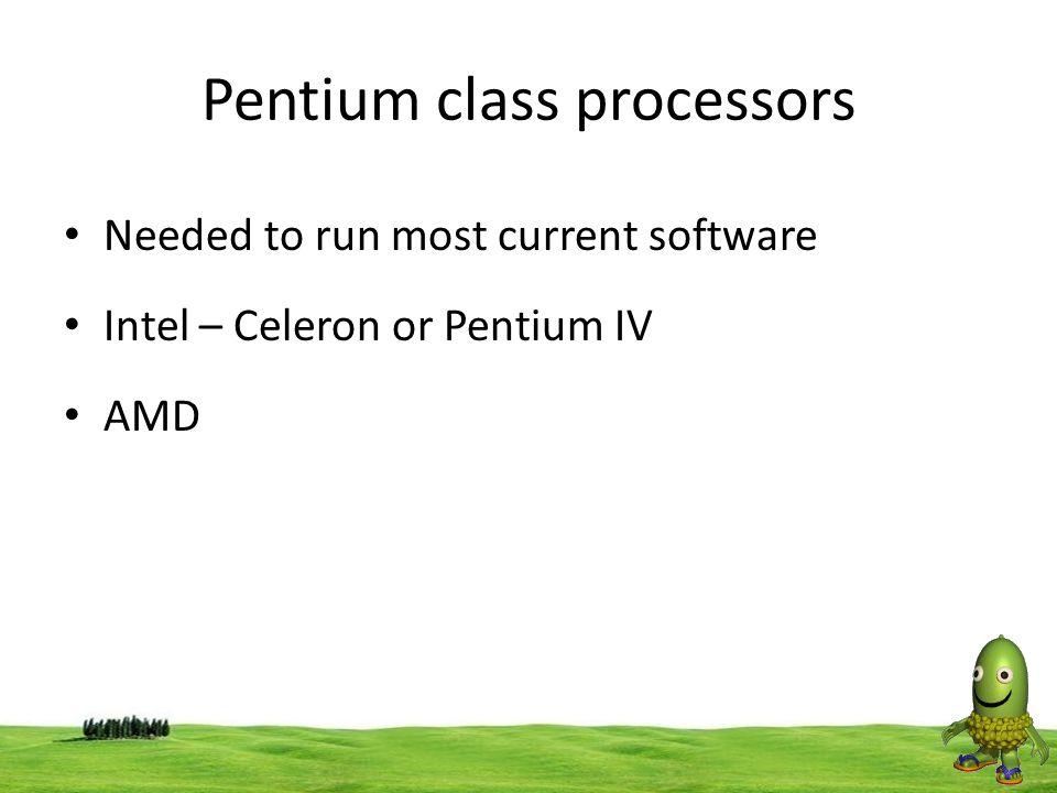 35 Pentium class processors Needed to run most current software Intel – Celeron or Pentium IV AMD