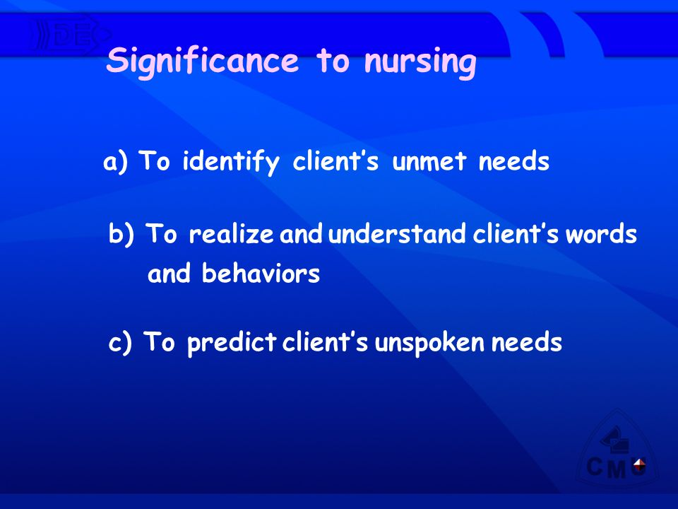 Significance to nursing a) To identify client's unmet needs b) To realize and understand client's words and behaviors c) To predict client's unspoken