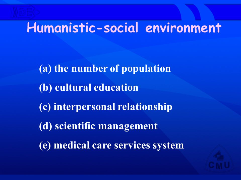 Humanistic-social environment (a) the number of population (b) cultural education (c) interpersonal relationship (d) scientific management (e) medical
