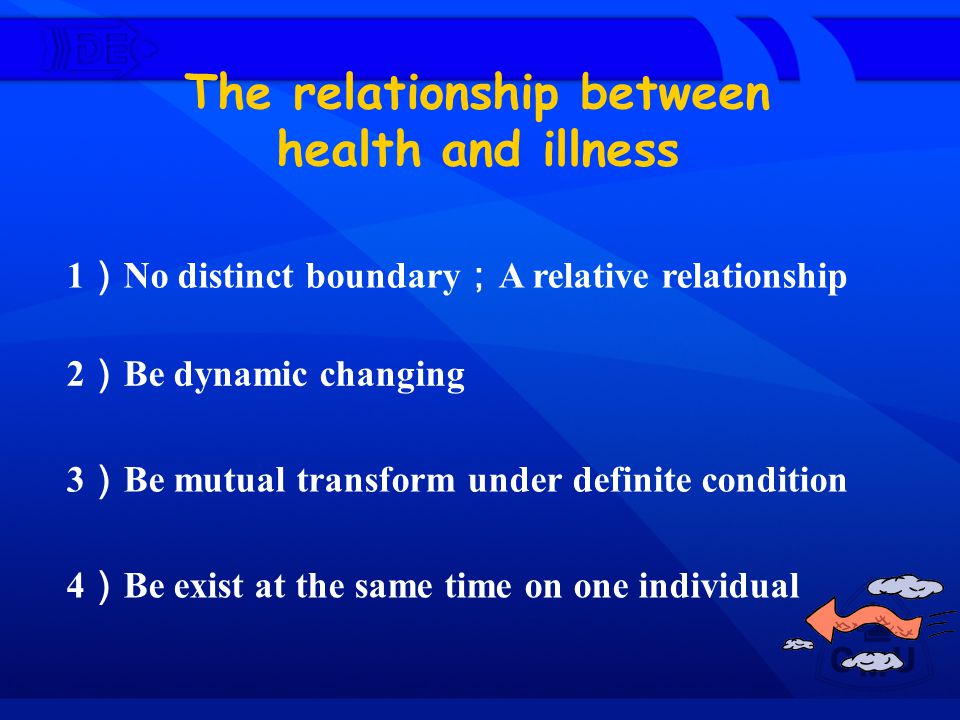 The relationship between health and illness 1 ) No distinct boundary ; A relative relationship 2 ) Be dynamic changing 3 ) Be mutual transform under d