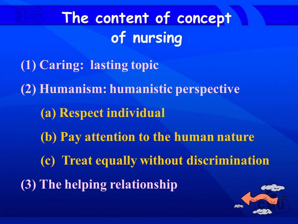(1) Caring: lasting topic (2) Humanism: humanistic perspective (a) Respect individual (b) Pay attention to the human nature (c) Treat equally without