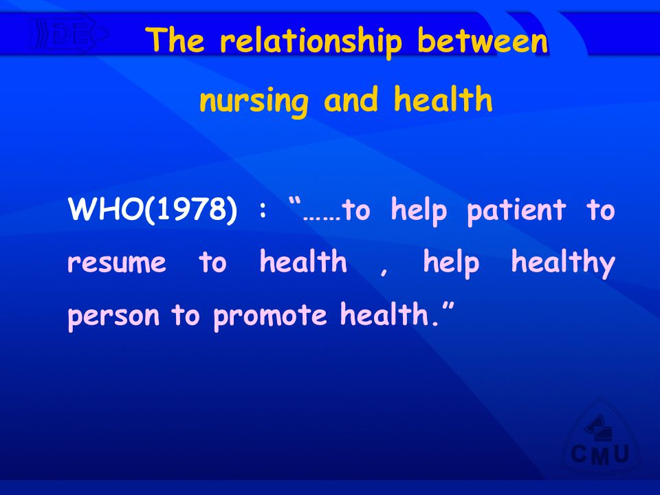 "The relationship between nursing and health WHO(1978) : ""……to help patient to resume to health, help healthy person to promote health."""