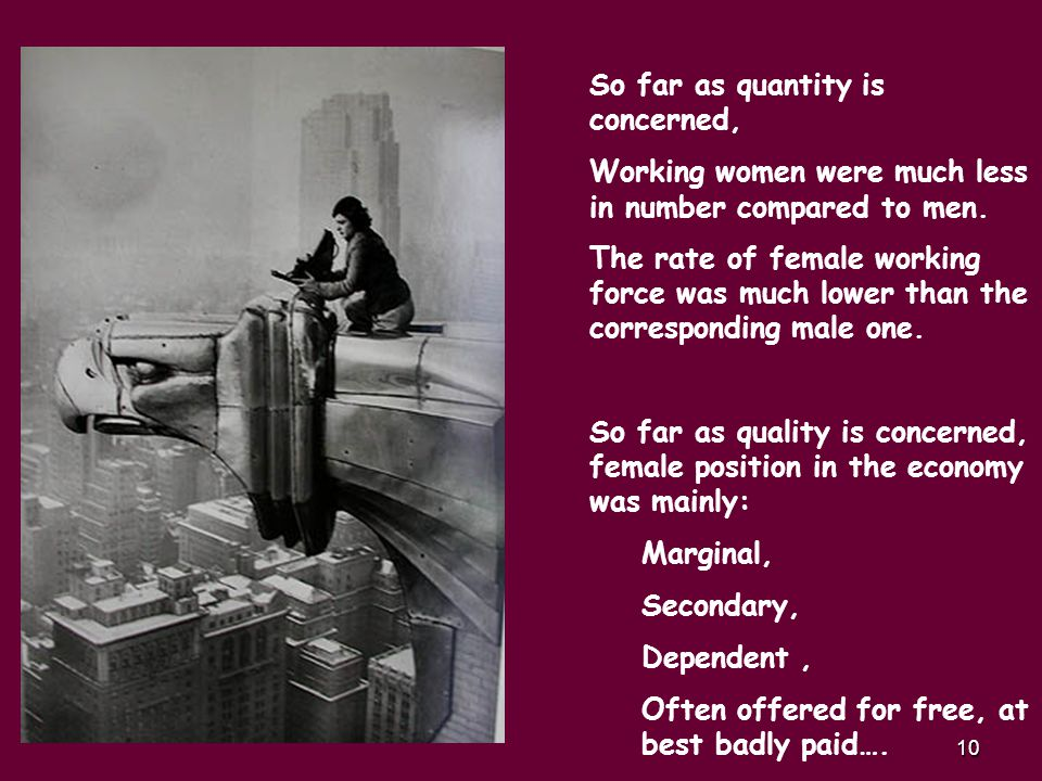 10 So far as quantity is concerned, Working women were much less in number compared to men.