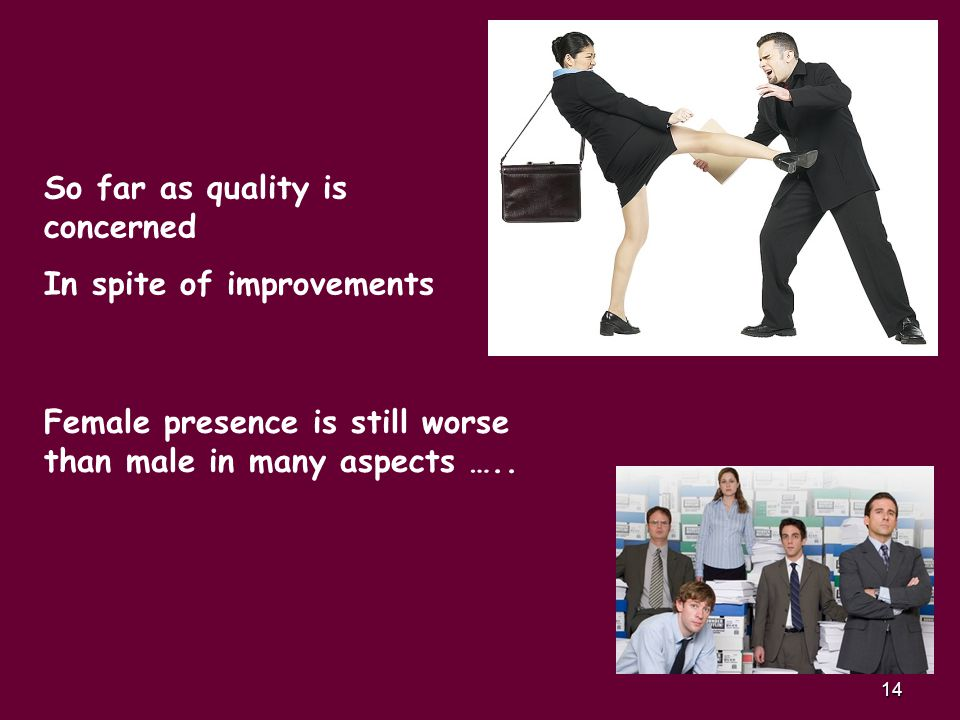 14 So far as quality is concerned In spite of improvements Female presence is still worse than male in many aspects …..
