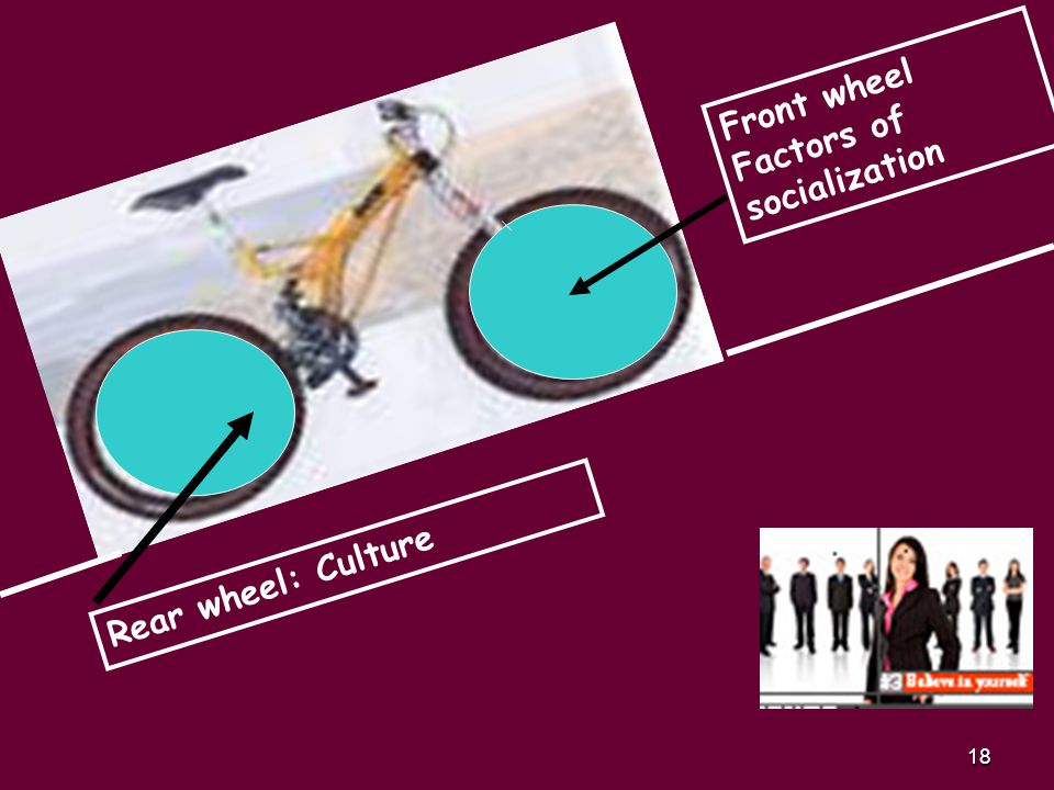 18 Front wheel Factors of socialization Rear wheel: Culture