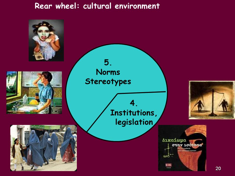 20 4. Institutions, legislation 5. Norms Stereotypes Rear wheel: cultural environment