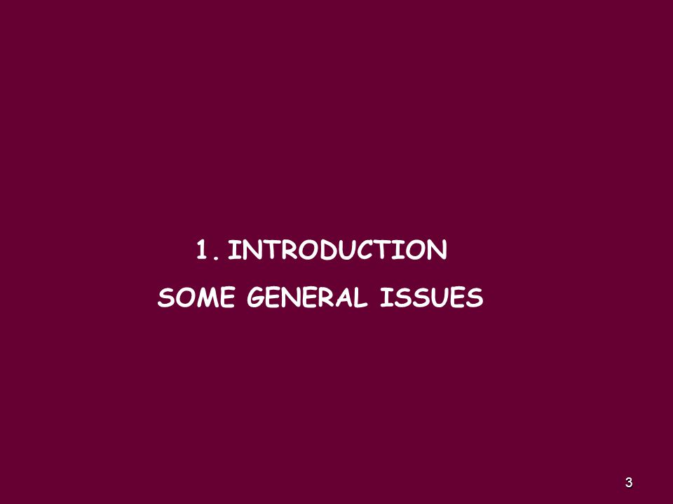 3 1.INTRODUCTION SOME GENERAL ISSUES