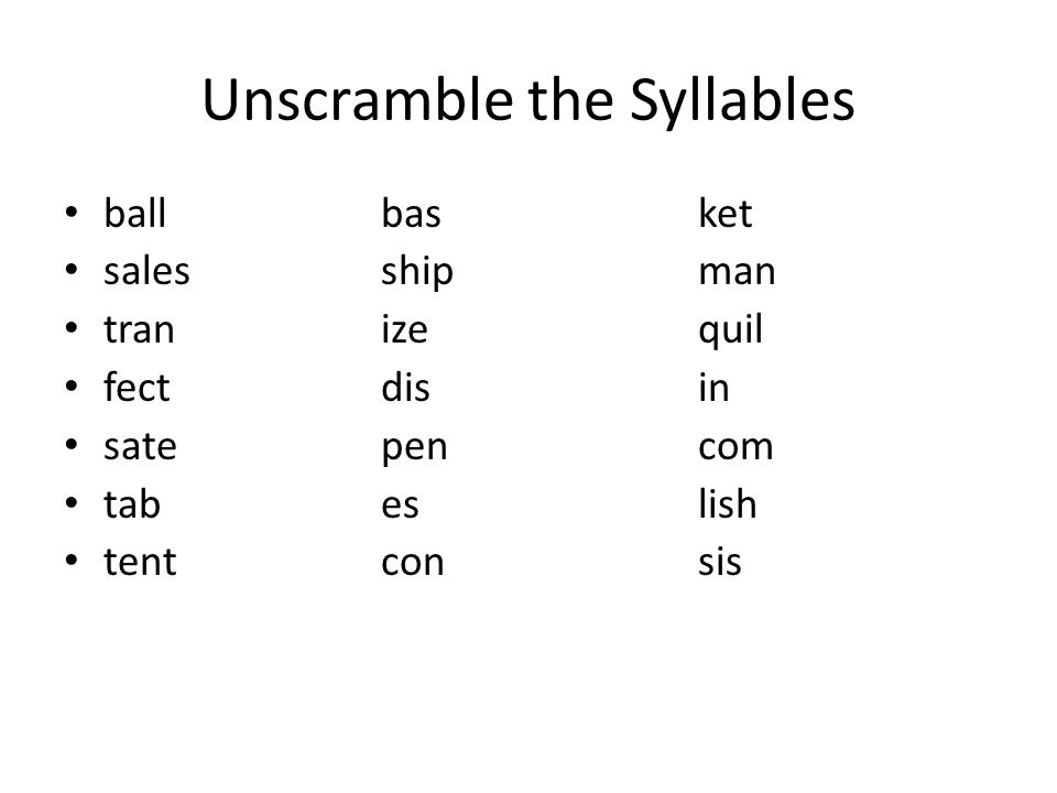 Unscramble the Syllables ballbasket salesshipman tranizequil fectdisin satepencom tabeslish tentconsis
