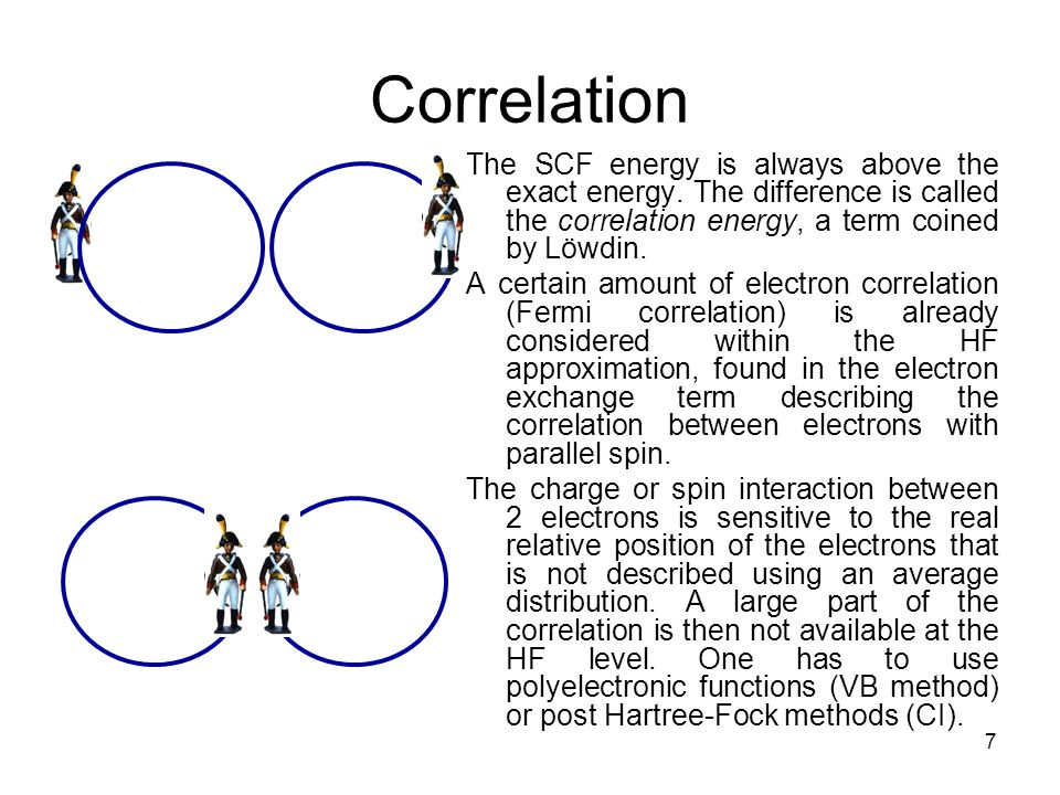 7 Correlation The SCF energy is always above the exact energy.