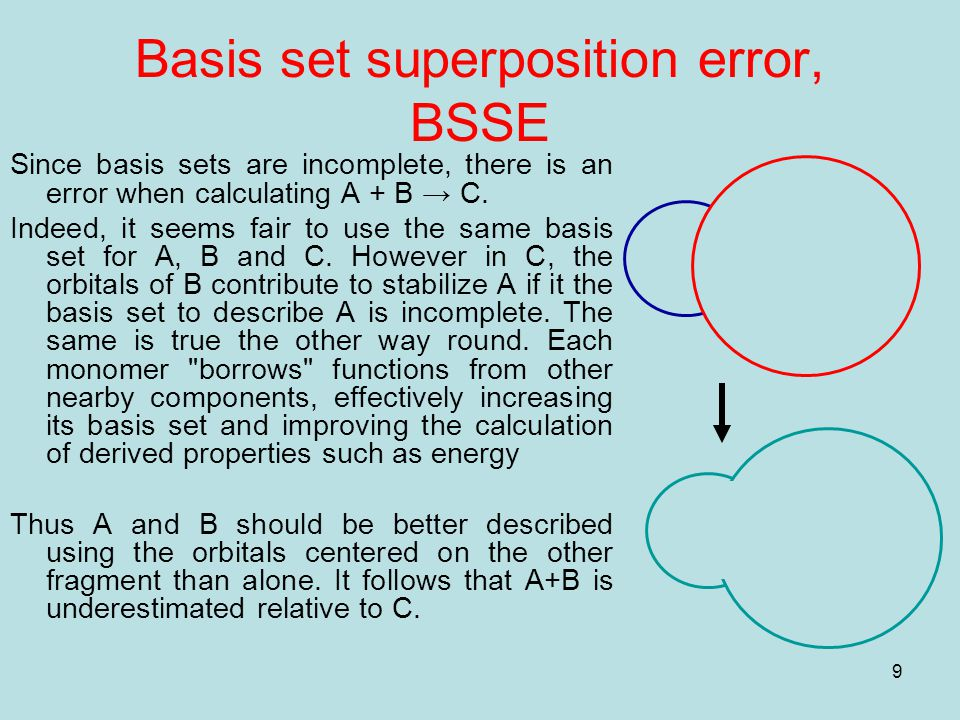9 Basis set superposition error, BSSE Since basis sets are incomplete, there is an error when calculating A + B → C.