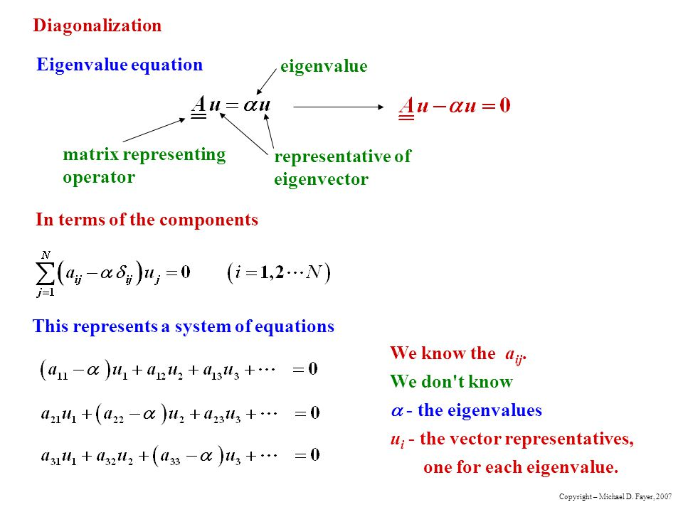 Diagonalization Eigenvalue equation matrix representing operator representative of eigenvector eigenvalue In terms of the components This represents a system of equations We know the a ij.
