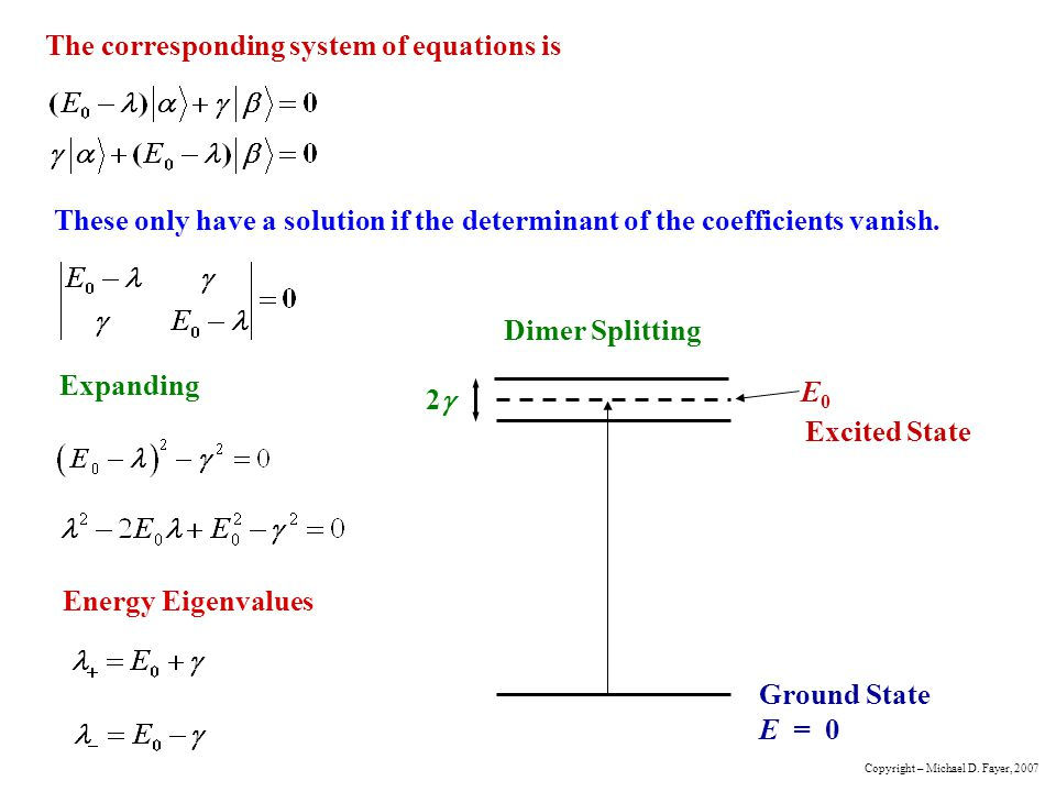 The corresponding system of equations is These only have a solution if the determinant of the coefficients vanish.