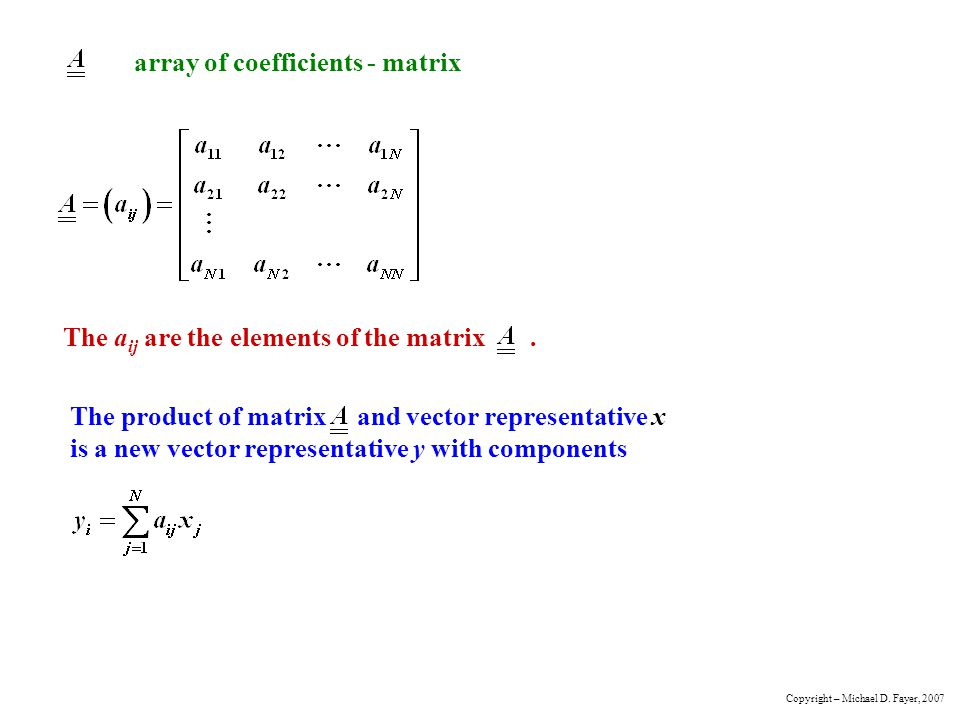 array of coefficients - matrix The a ij are the elements of the matrix.