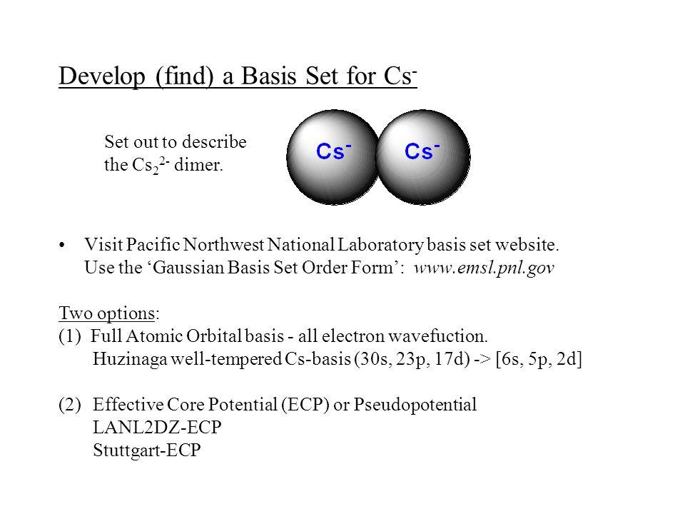Develop (find) a Basis Set for Cs - Visit Pacific Northwest National Laboratory basis set website. Use the 'Gaussian Basis Set Order Form': www.emsl.p
