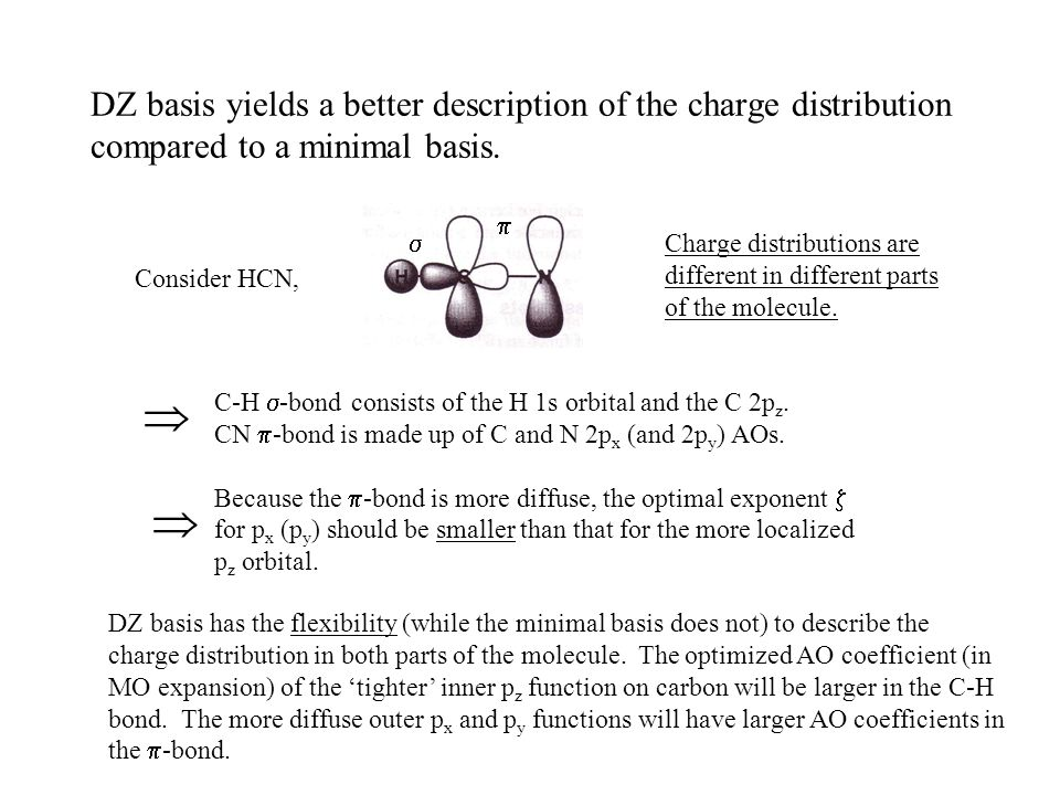 DZ basis yields a better description of the charge distribution compared to a minimal basis.