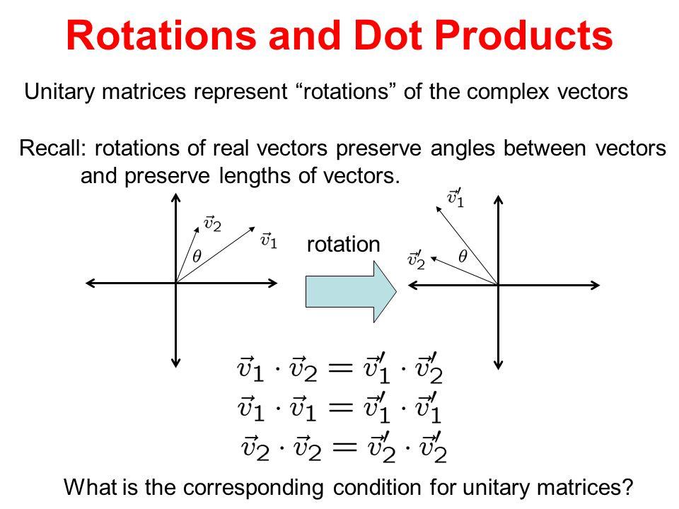 "Rotations and Dot Products Unitary matrices represent ""rotations"" of the complex vectors Recall: rotations of real vectors preserve angles between vec"