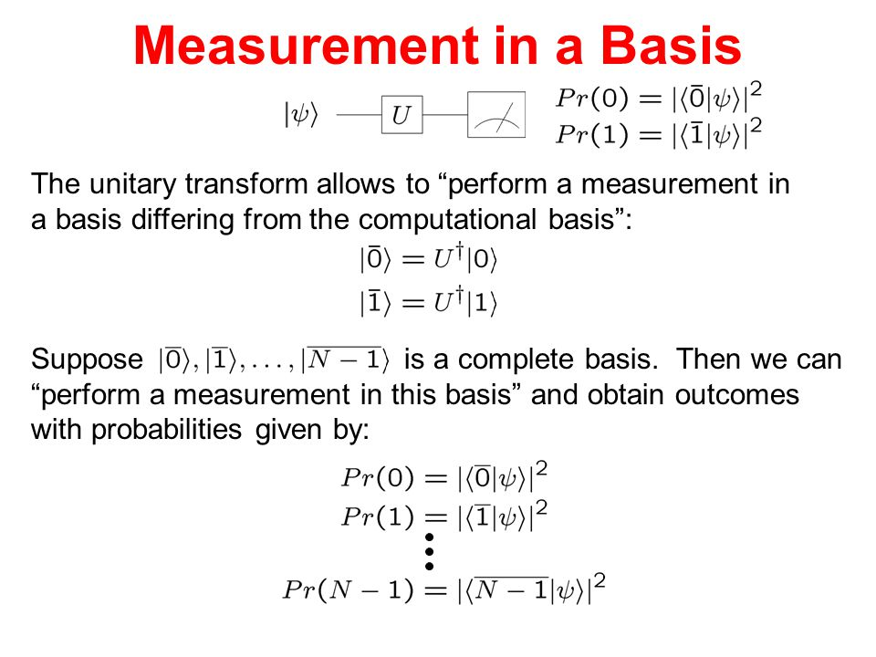 """Measurement in a Basis The unitary transform allows to """"perform a measurement in a basis differing from the computational basis"""": Suppose is a complet"""