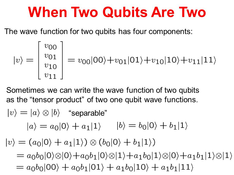 """When Two Qubits Are Two The wave function for two qubits has four components: Sometimes we can write the wave function of two qubits as the """"tensor pr"""