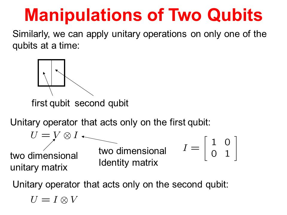 Manipulations of Two Qubits Similarly, we can apply unitary operations on only one of the qubits at a time: Unitary operator that acts only on the fir