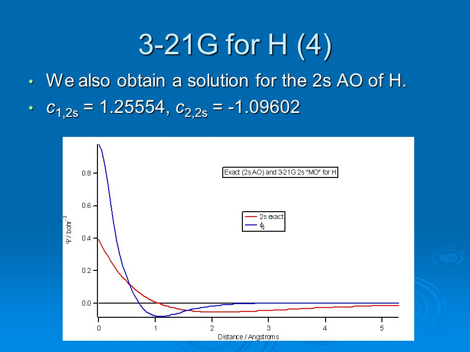 3-21G for H (4) We also obtain a solution for the 2s AO of H. We also obtain a solution for the 2s AO of H. c 1,2s = 1.25554, c 2,2s = -1.09602 c 1,2s