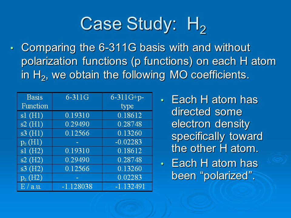 Case Study: H 2 Comparing the 6-311G basis with and without polarization functions (p functions) on each H atom in H 2, we obtain the following MO coe