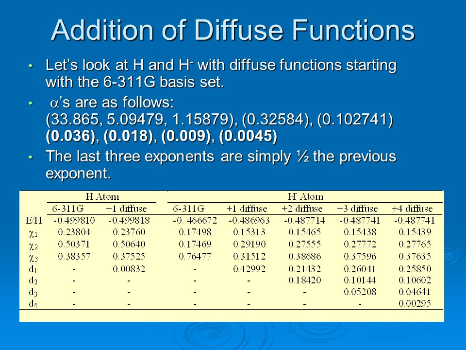 Addition of Diffuse Functions Let's look at H and H - with diffuse functions starting with the 6-311G basis set. Let's look at H and H - with diffuse
