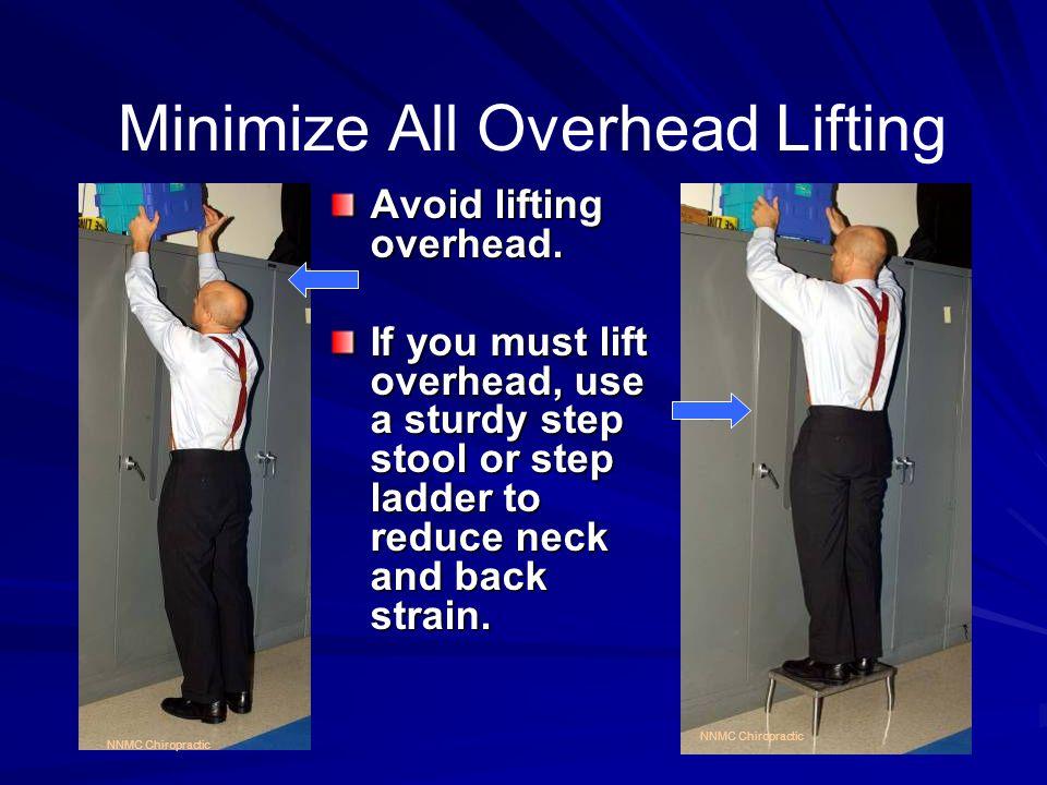 Minimize All Overhead Lifting Avoid lifting overhead.