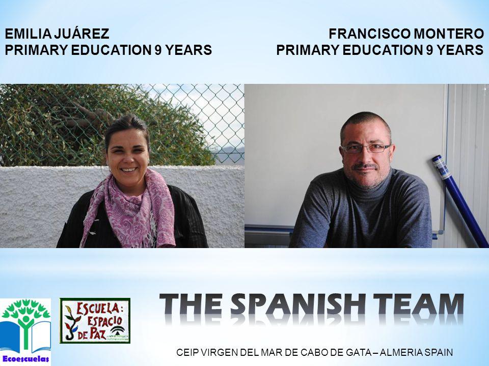 FRANCISCO MONTERO PRIMARY EDUCATION 9 YEARS EMILIA JUÁREZ PRIMARY EDUCATION 9 YEARS CEIP VIRGEN DEL MAR DE CABO DE GATA – ALMERIA SPAIN