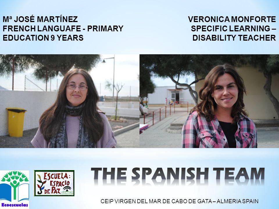 VERONICA MONFORTE SPECIFIC LEARNING – DISABILITY TEACHER Mª JOSÉ MARTÍNEZ FRENCH LANGUAFE - PRIMARY EDUCATION 9 YEARS CEIP VIRGEN DEL MAR DE CABO DE GATA – ALMERIA SPAIN