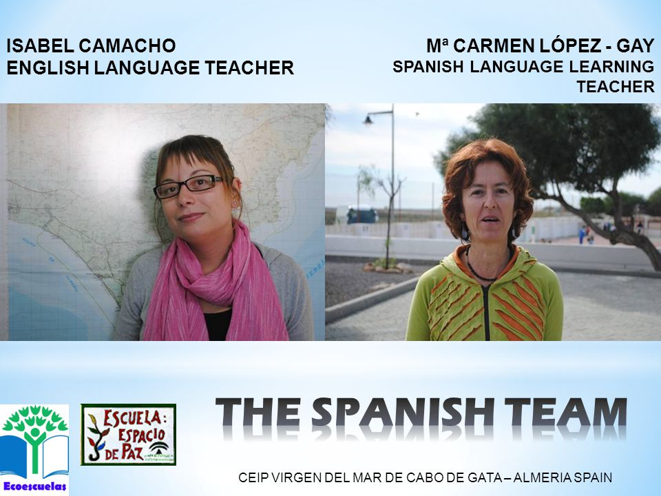 Mª CARMEN LÓPEZ - GAY SPANISH LANGUAGE LEARNING TEACHER ISABEL CAMACHO ENGLISH LANGUAGE TEACHER CEIP VIRGEN DEL MAR DE CABO DE GATA – ALMERIA SPAIN