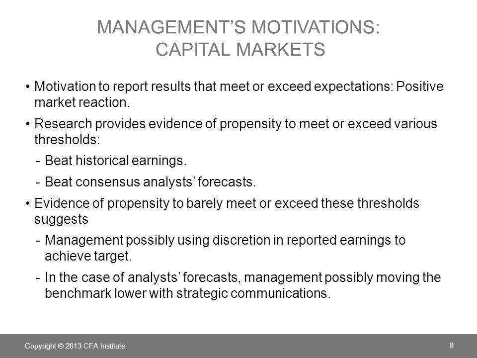 MANAGEMENT'S MOTIVATIONS: CAPITAL MARKETS Motivation to report results that meet or exceed expectations: Positive market reaction. Research provides e