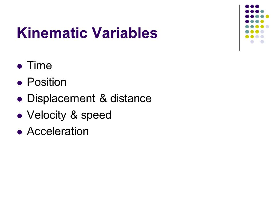 Kinematic Variables Time Position Displacement & distance Velocity & speed Acceleration