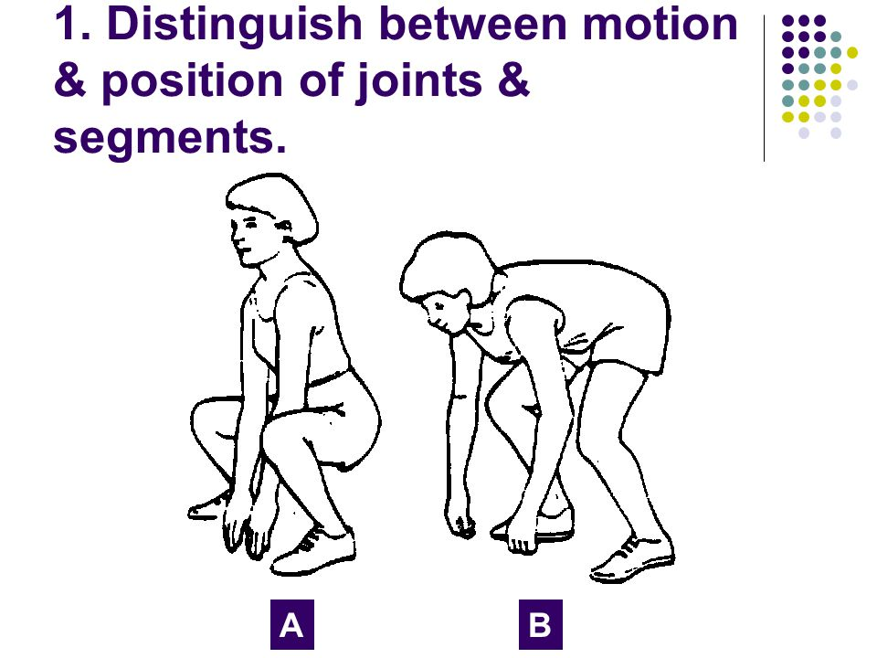 1. Distinguish between motion & position of joints & segments. AB