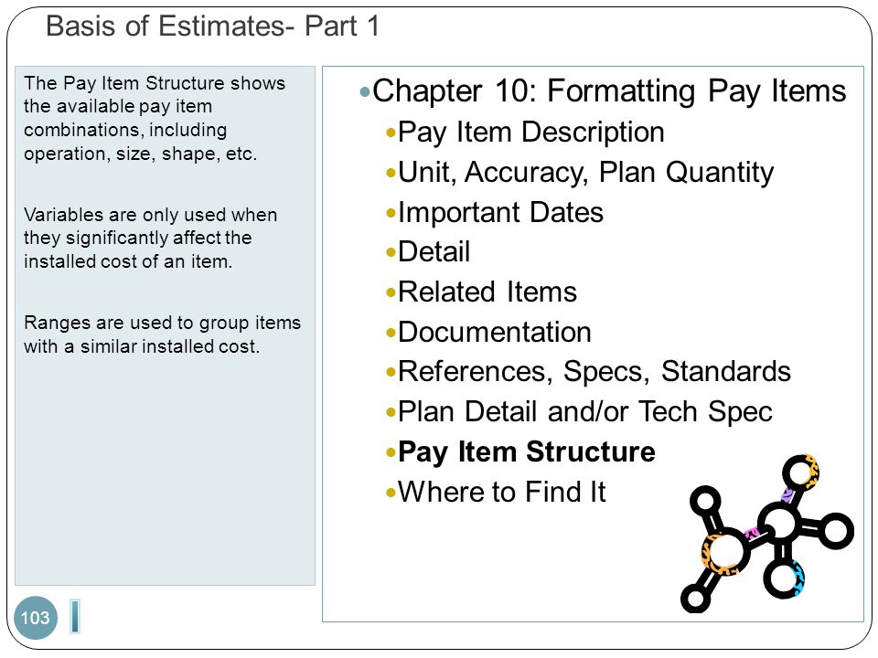 Basis of Estimates- Part 1 The Pay Item Structure shows the available pay item combinations, including operation, size, shape, etc. Variables are only