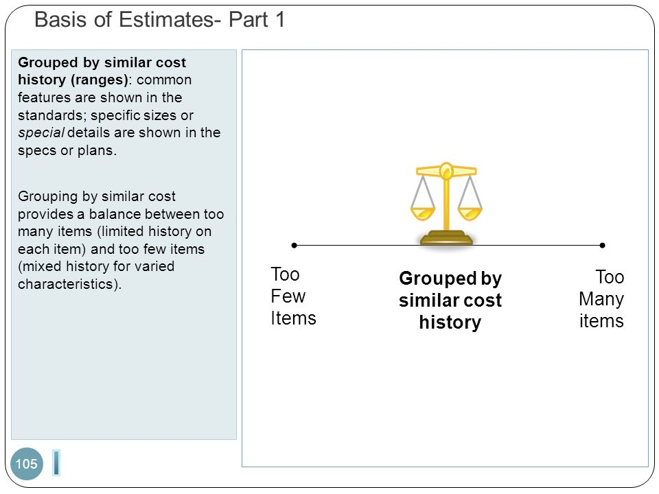 Basis of Estimates- Part 1 Grouped by similar cost history (ranges): common features are shown in the standards; specific sizes or special details are