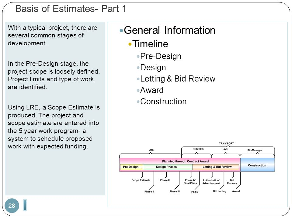 Basis of Estimates- Part 1 With a typical project, there are several common stages of development. In the Pre-Design stage, the project scope is loose