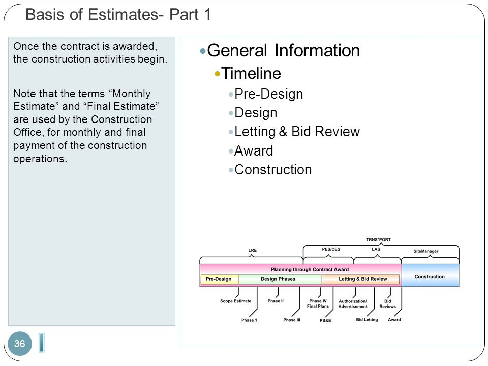 "Basis of Estimates- Part 1 Once the contract is awarded, the construction activities begin. Note that the terms ""Monthly Estimate"" and ""Final Estimate"