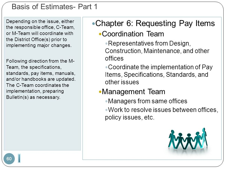 Basis of Estimates- Part 1 Depending on the issue, either the responsible office, C-Team, or M-Team will coordinate with the District Office(s) prior