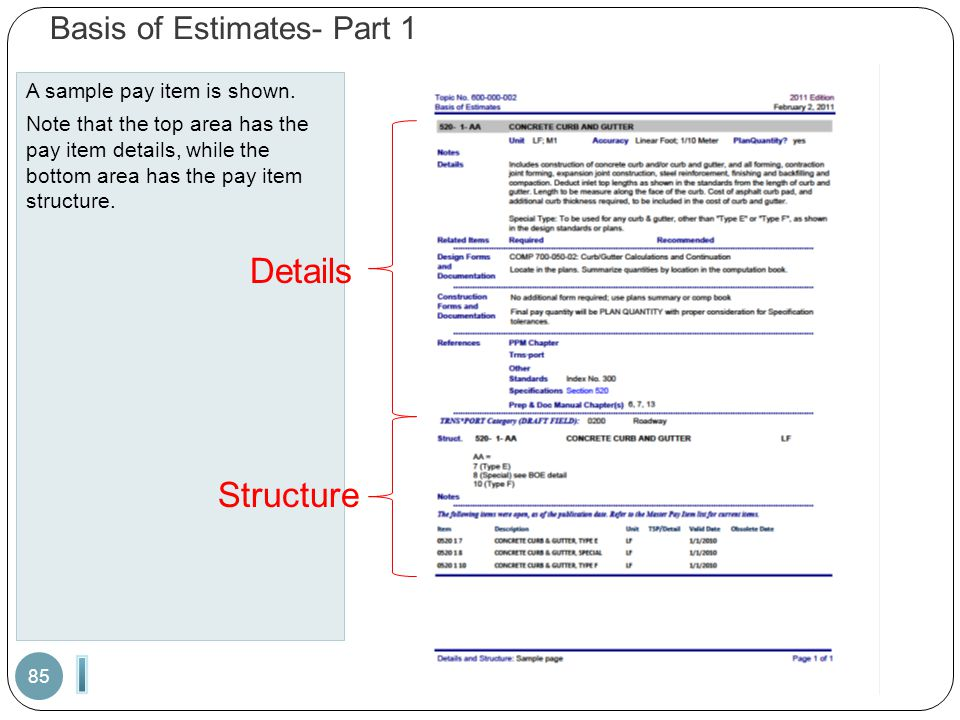 Basis of Estimates- Part 1 A sample pay item is shown. Note that the top area has the pay item details, while the bottom area has the pay item structu