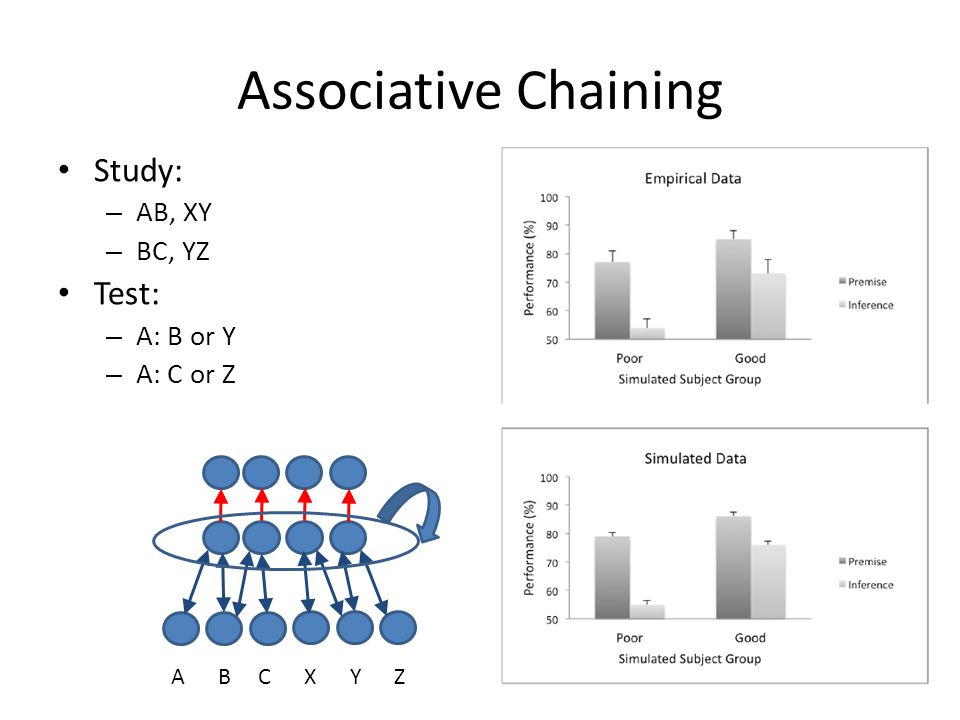 Associative Chaining Study: – AB, XY – BC, YZ Test: – A: B or Y – A: C or Z A B C X Y Z