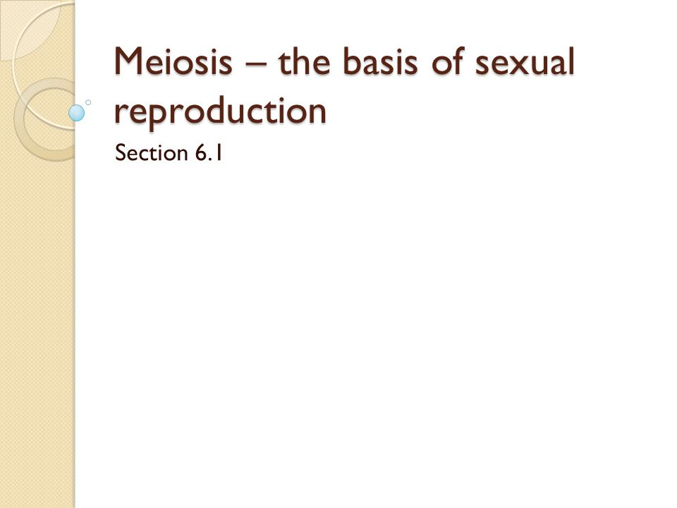 Meiosis – the basis of sexual reproduction Section 6.1